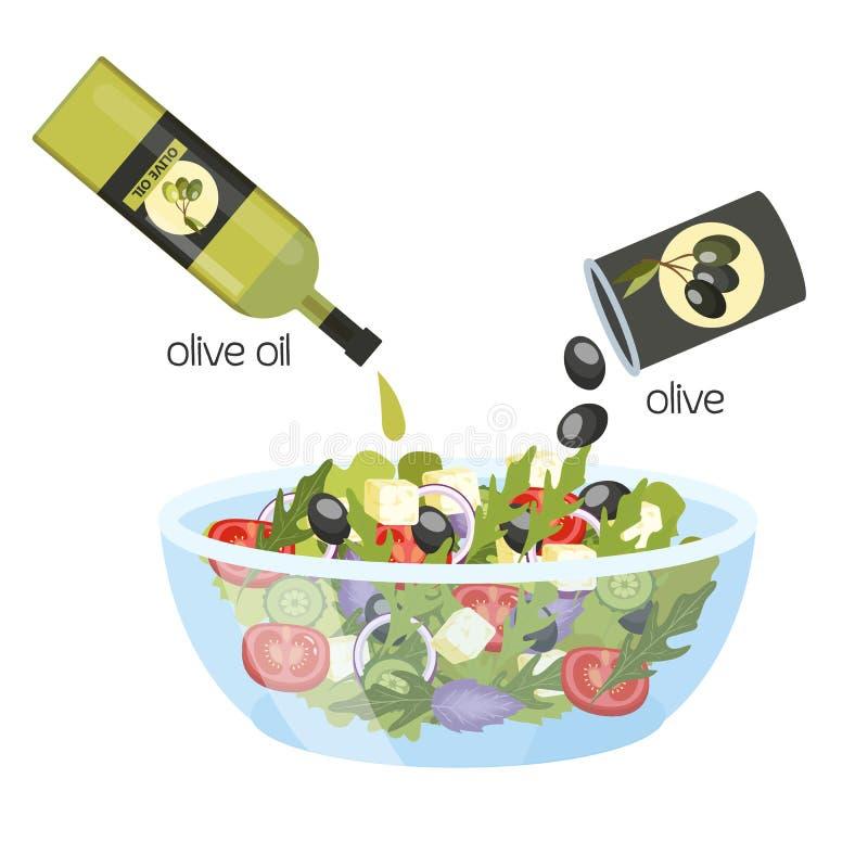 Grecka sałatka w pucharze Organicznie zdrowy jedzenie royalty ilustracja