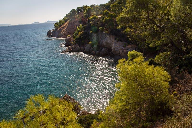 Grecka wyspa Spetses - linia brzegowa fotografia royalty free