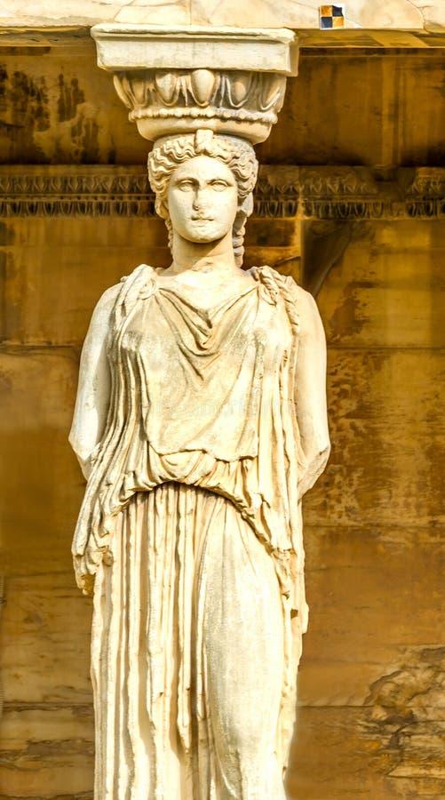 Grecki Dziewiczy kariatyd ruin świątyni Erechtheion akropol Ateny zdjęcia royalty free