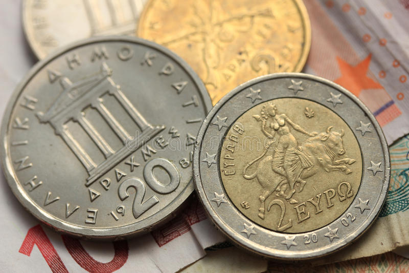 Grecki i euro pieniądze grexit, fotografia royalty free