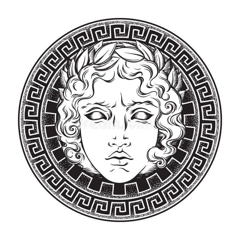 Grecki i rzymski bóg Apollo Ręka rysujący antyka stylu logo lub druku projekta sztuki wektoru ilustracja ilustracji