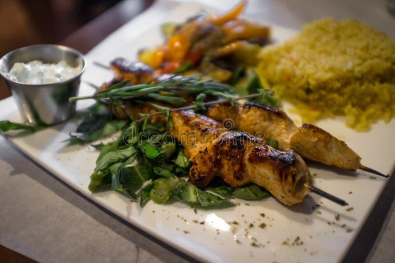 Grecki kurczak Kebabs zdjęcia royalty free