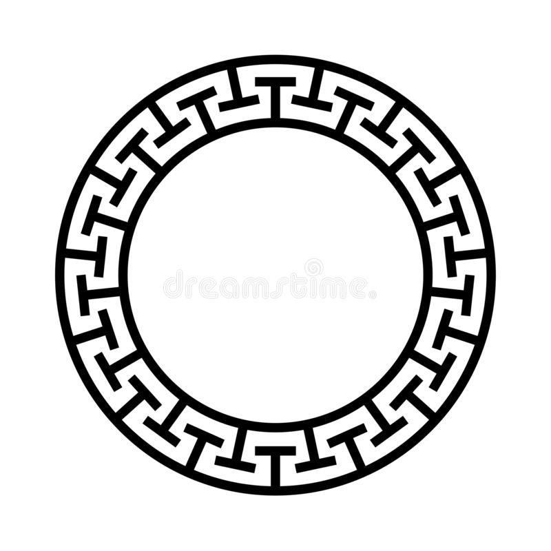 Grecki okręgu ornament Round Greece ikona z czarną labirynt ramą Etniczna Wektorowa ilustracja Meanderu antyka pierścionek z insy ilustracja wektor