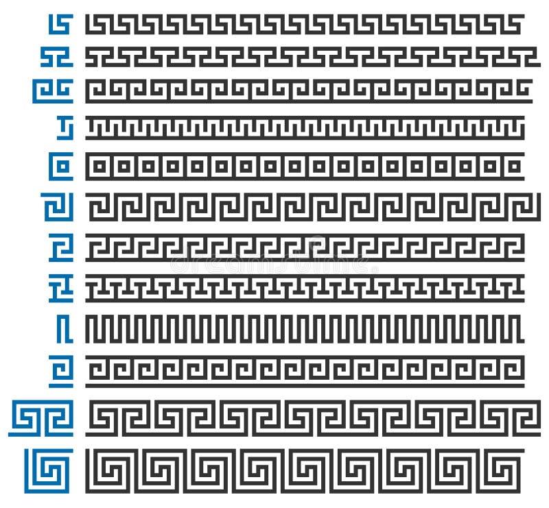 Grecki ornamentu konstruktor Set wektorowi dekoracyjni elementy ilustracja wektor