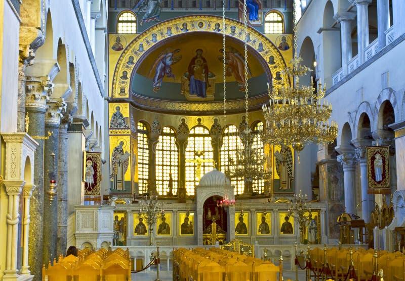 grecki ortodoksyjny kościoła wewnętrznego zdjęcia stock