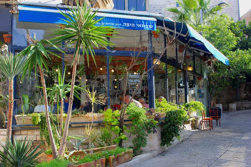 Grecki restauracja ogród, Stary Jaffa, Tel Aviv obrazy stock