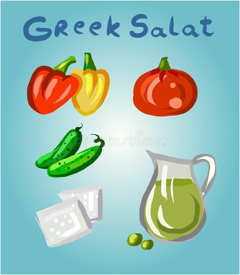 Grecki sałatkowy i swój składniki royalty ilustracja