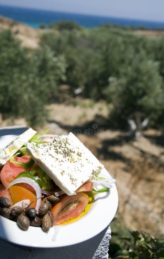 greckie gospodarstwa denny sałatkowy widok obraz stock
