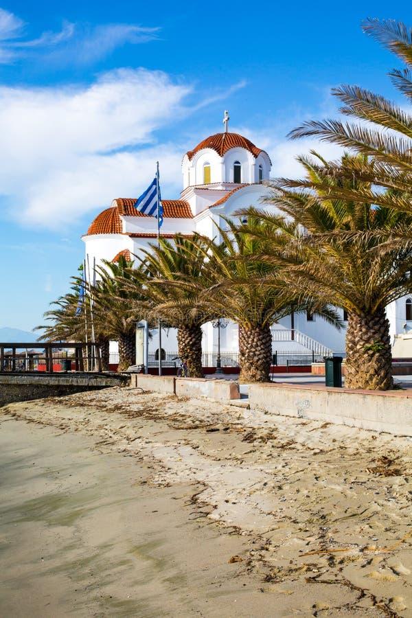 Download Greckokatolicki Kościół W Paralia Katerini Plaży, Grecja Zdjęcie Stock - Obraz złożonej z europejczycy, sceneria: 53782230