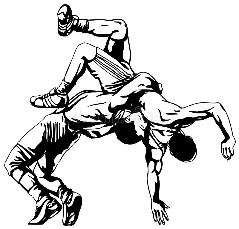 Greco-Roman wrestling royalty free illustration
