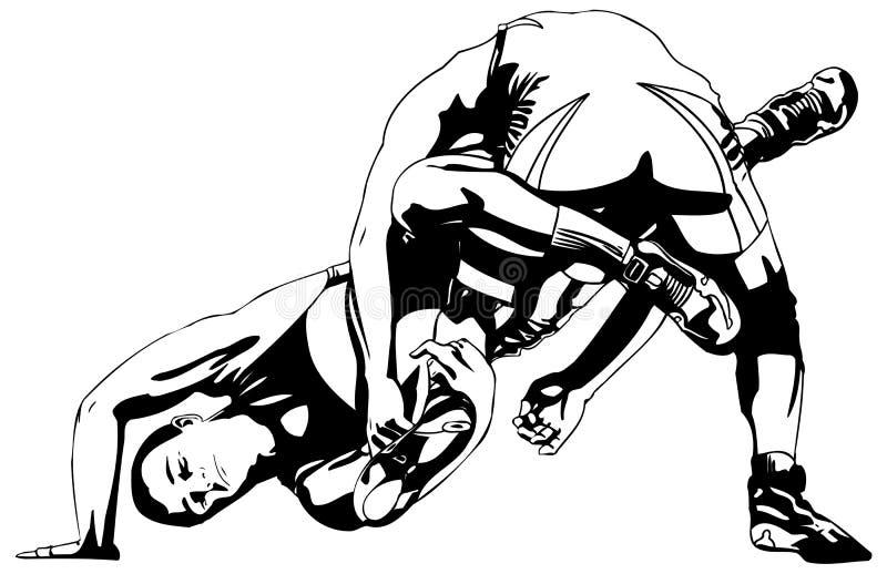 Greco-Roman wrestling stock image