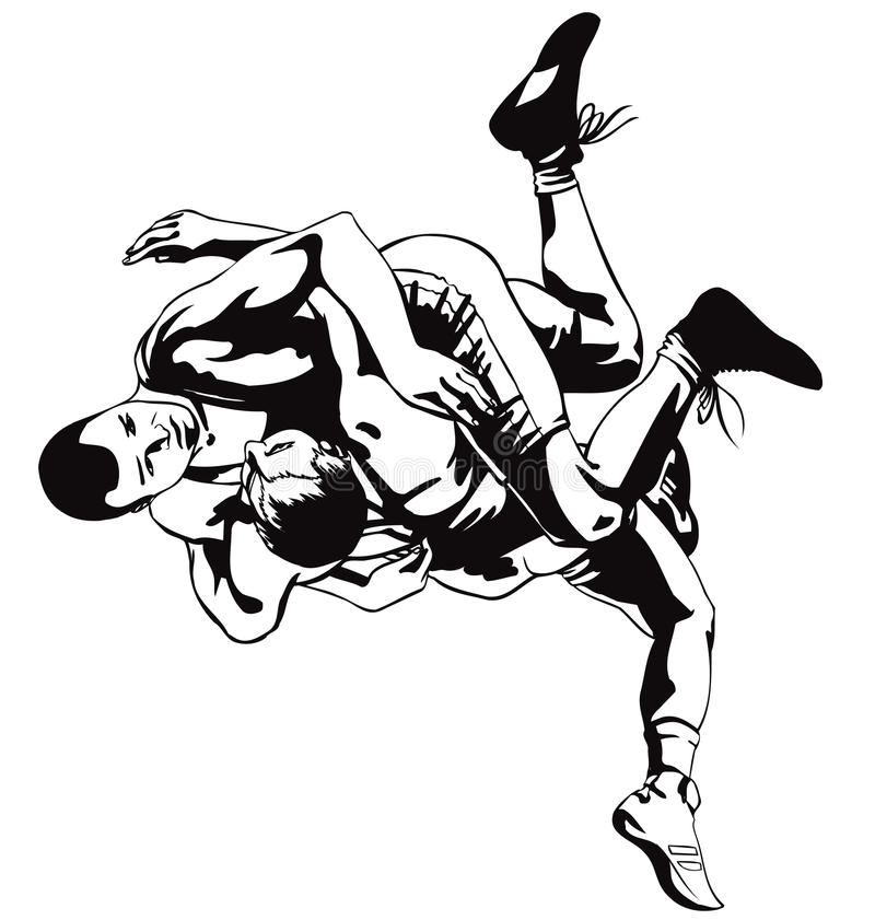 Greco-Roman wrestling stock illustration