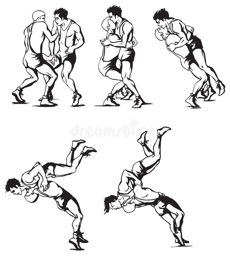 Greco-Roman wrestling vector illustration