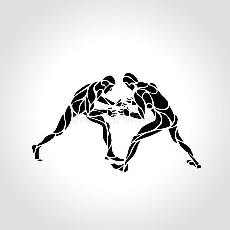 Greco rzymski sport, walcząca gra Wektorowa Czarny I Biały stylu wolnego zapaśnictwa ilustracja ilustracja wektor