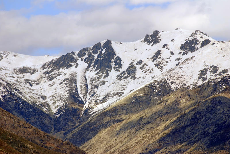 Gredos sierra. View of the snowy summits of the sierra of Gredos in Spain royalty free stock photos