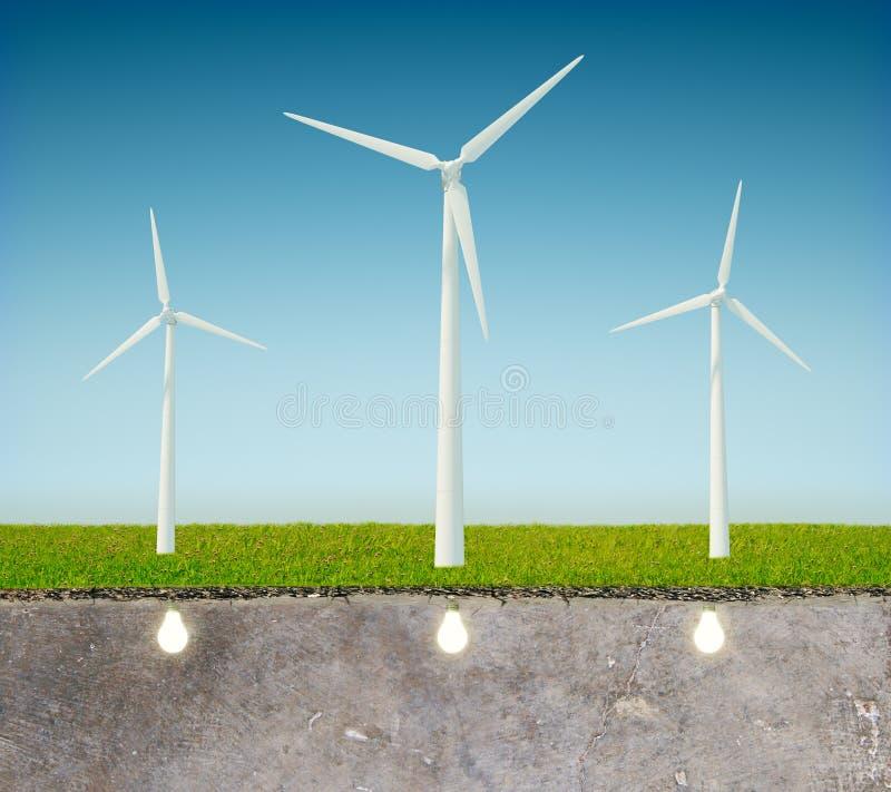 Gree energetyczny pojęcie z wiatraczkiem fotografia stock