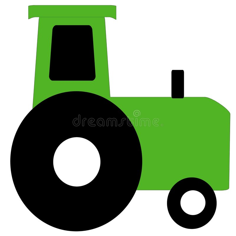 Gree Farm Tractor. A simple green farm tractor for your little farmer stock illustration