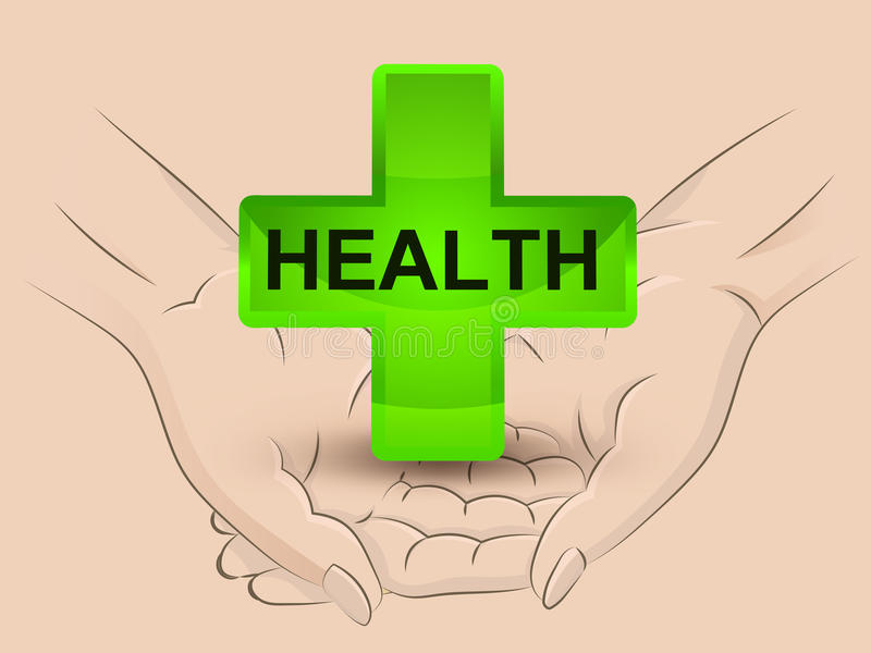 Gree health icon hold two human hands across vector royalty free illustration