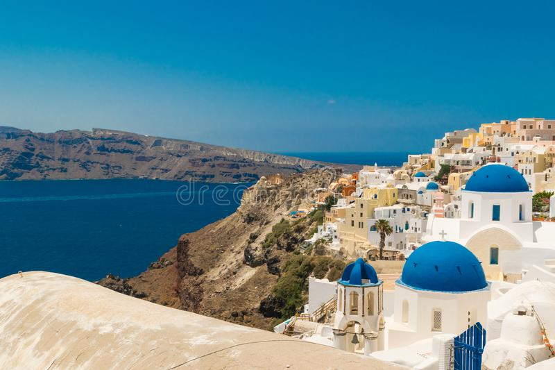 greece ösantorini område moscow en panorama- sikt Turist- destination Sommar arkivbilder