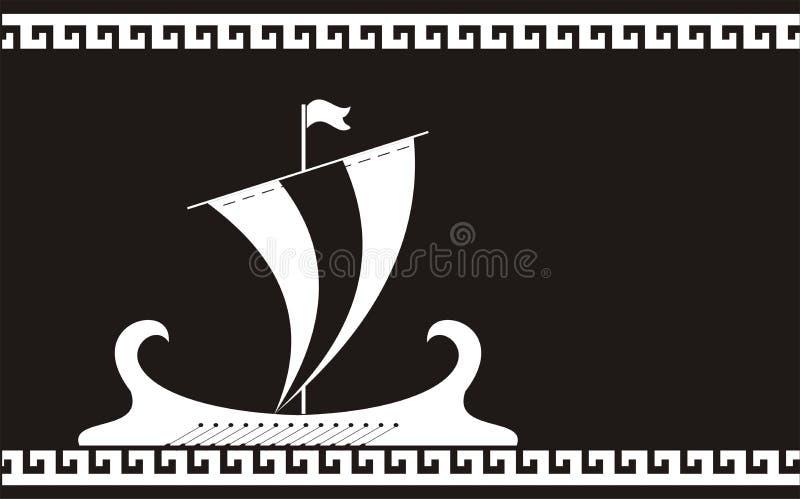 Greece ancient ship silhouette stock illustration