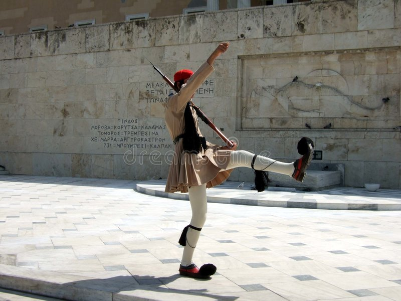 Greece, Athens, guards changing at the Parliament royalty free stock image