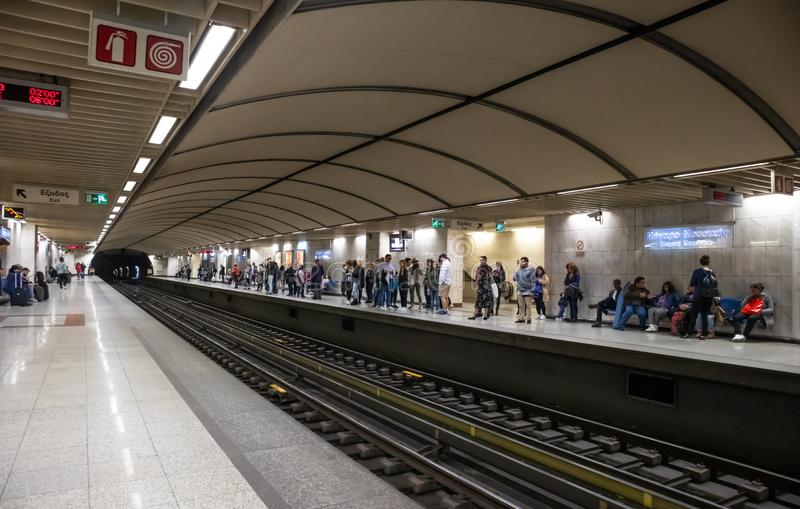 Greece, Athens. Metro station at the city center. Passengers at the platforms waiting for the trains royalty free stock images