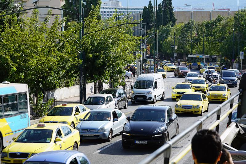 GREECE, ATHENS - OCTOBER 05 OCTOBER 05 2018 Traffic jam on the streets in the morning stock photography