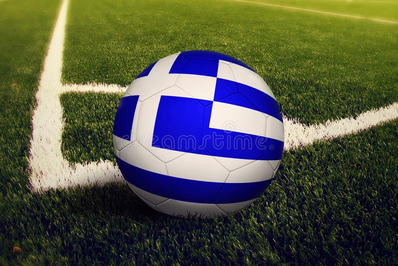 Greece ball on corner kick position, soccer field background. National football theme on green grass vector illustration