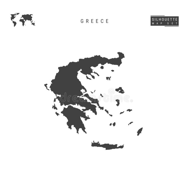Greece Vector Map Isolated on White Background. High-Detailed Black Silhouette Map of Greece royalty free illustration