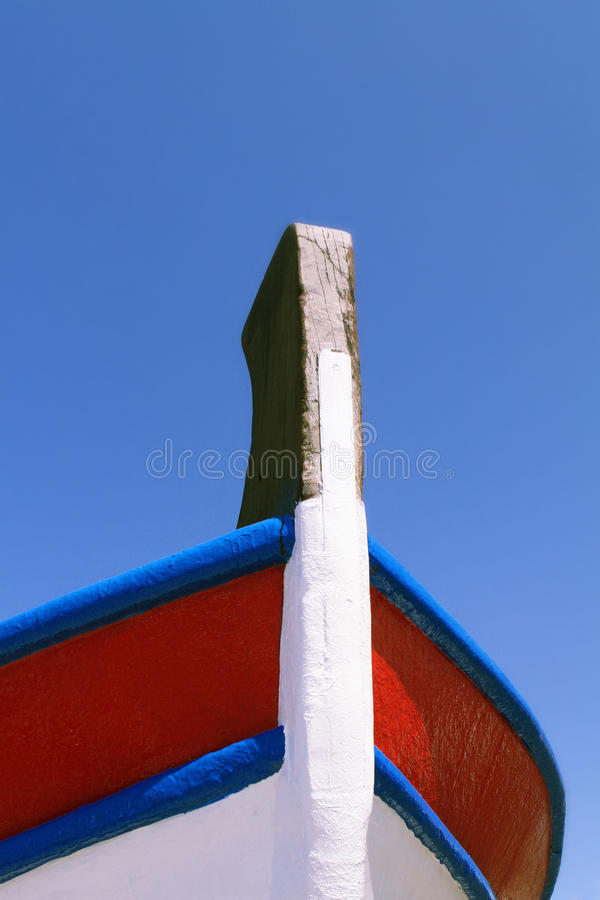 Greece boat bow. Over the blue sky background stock photos