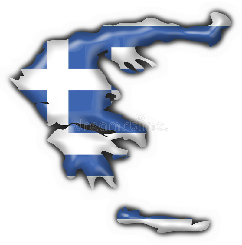Greece Button Flag Map Shape Royalty Free Stock Image