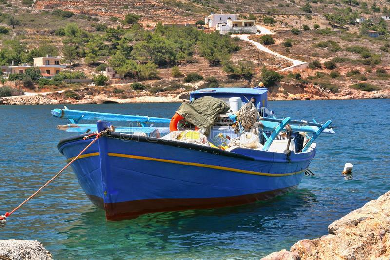 Greece, Chios, a blue fishing boat. royalty free stock photos
