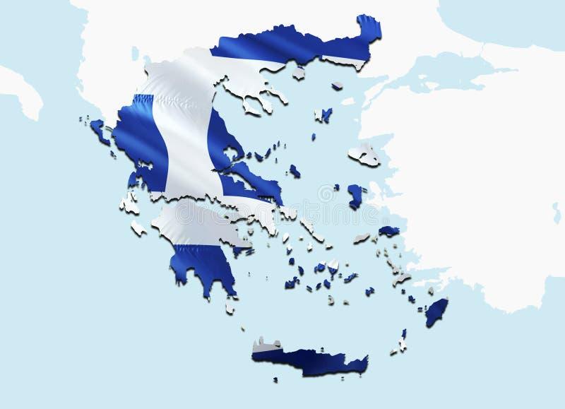 greece chorągwiana mapa 3D odpłaca się Grecja flagę i mapę Krajowy symbol Grecja Krajowej falowanie flagi kolorowy pojęcie 3D ilustracja wektor