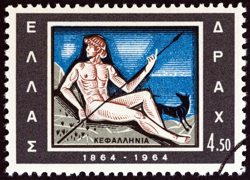 GREECE - CIRCA 1964: A stamp printed in Greece shows Cephalus, dog and spear emblem of Cephalonia, circa 1964. stock images