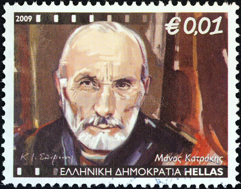 GREECE - CIRCA 2009: A stamp printed in Greece shows Manos Katrakis, circa 2009. GREECE - CIRCA 2009: A stamp printed in Greece from the `Greek Actors` issue stock photo