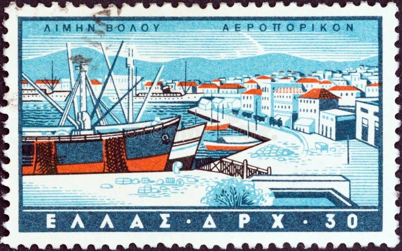 GREECE - CIRCA 1958: A stamp printed in Greece shows Volos, circa 1958. royalty free stock photography
