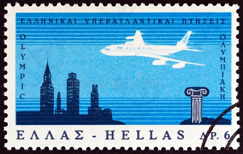 GREECE - CIRCA 1966: A stamp printed in Greece shows Boeing 707 Jetliner crossing Atlantic Ocean, circa 1966. stock image