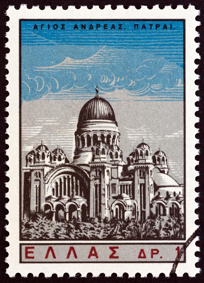 GREECE - CIRCA 1965: A stamp printed in Greece from the `Saint Andrew` issue shows St. Andrew`s church, Patras, circa 1965. royalty free stock images