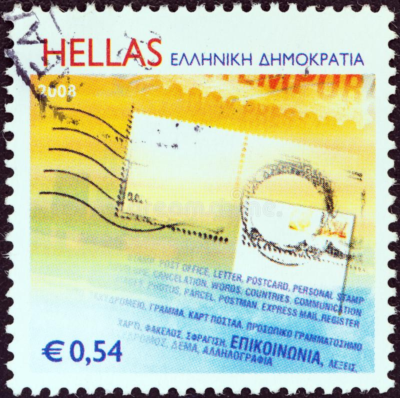GREECE - CIRCA 2008: A stamp printed in Greece shows a letter, circa 2008. GREECE - CIRCA 2008: A stamp printed in Greece from the `Personalized stamps` issue stock images