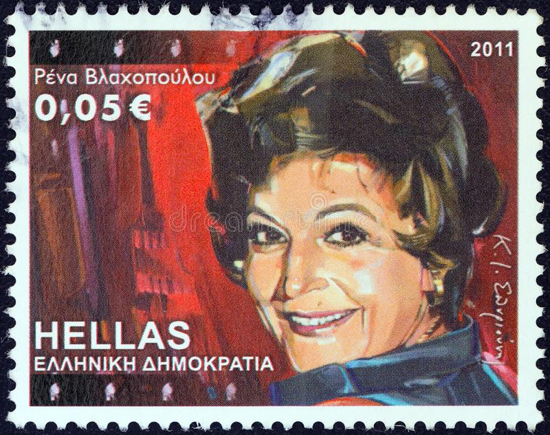 GREECE - CIRCA 2011: A stamp printed in Greece shows Rena Vlachopoulou, circa 2011. royalty free stock image