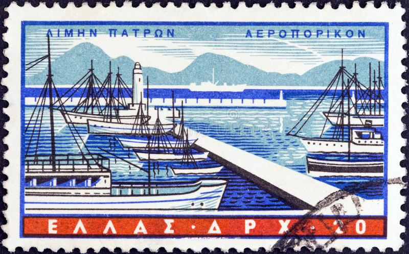 GREECE - CIRCA 1958: A stamp printed in Greece shows Patras, circa 1958. GREECE - CIRCA 1958: A stamp printed in Greece from the `Greek Ports` issue shows royalty free stock photos