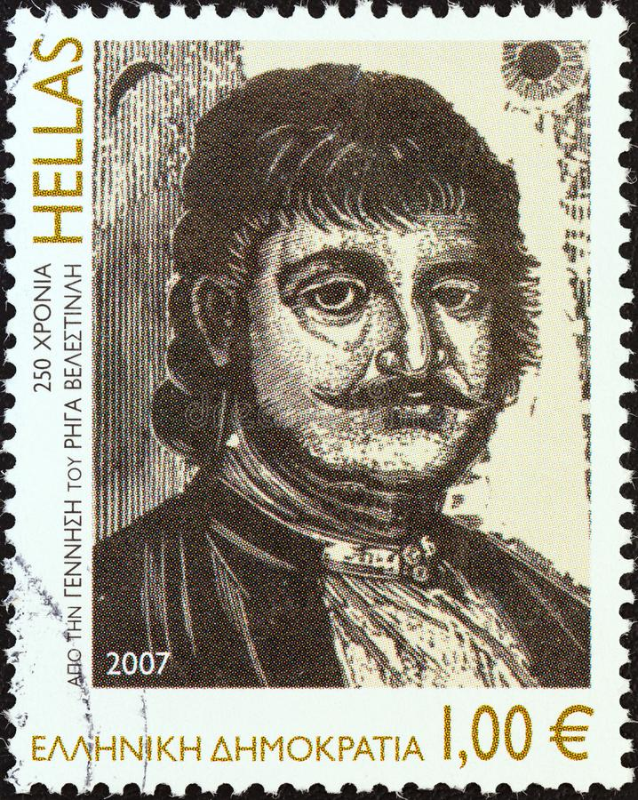 GREECE - CIRCA 2007: A stamp printed in Greece shows Rigas Velestinlis Feraios, engraving by Giannis Gourzis, circa 2007. GREECE - CIRCA 2007: A stamp printed stock photo
