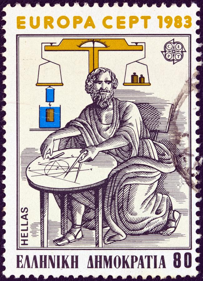 GREECE - CIRCA 1983: A stamp printed in Greece shows ancient Greek mathematician and physicist Archimedes of Syracuse, circa 1983. stock photo