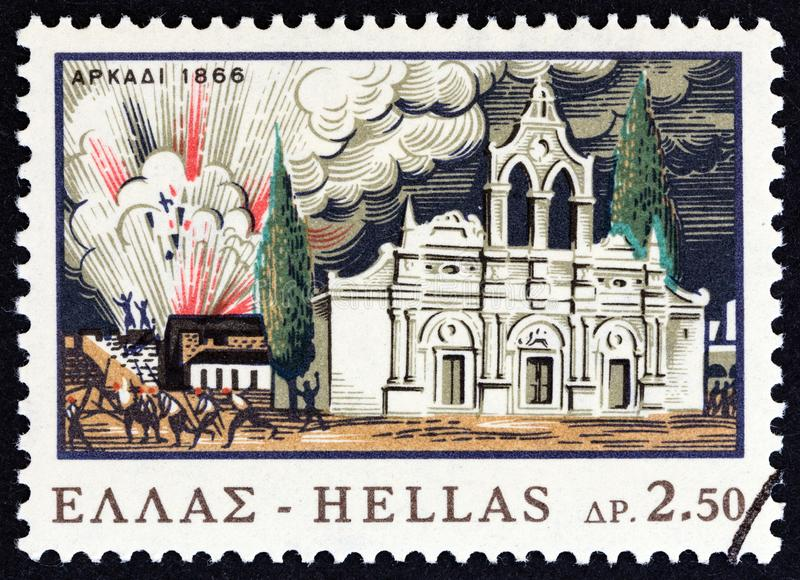 GREECE - CIRCA 1966: A stamp printed in Greece shows the explosion of gunpowder machine, Arkadi Monastery, circa 1966. GREECE - CIRCA 1966: A stamp printed in royalty free stock photos