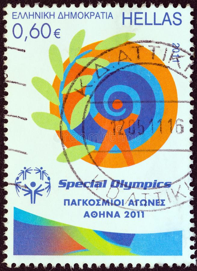 GREECE - CIRCA 2011: A stamp printed in Greece from the `Special Olympics World Games Athens 2011` issue shows emblem, circa 2011. stock image