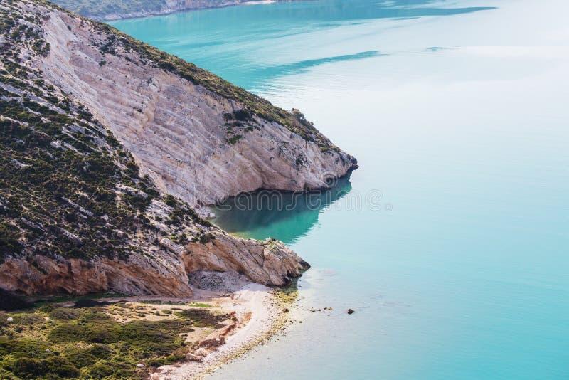 Greece coast. Beautiful rocky coastline in Greece stock photos
