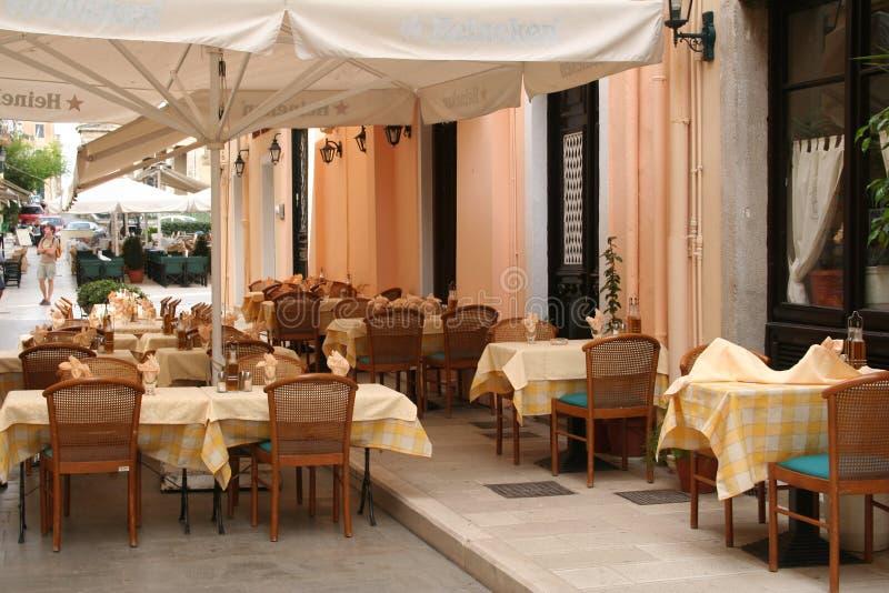 Greece. Corfu-cidade. Café fotos de stock royalty free