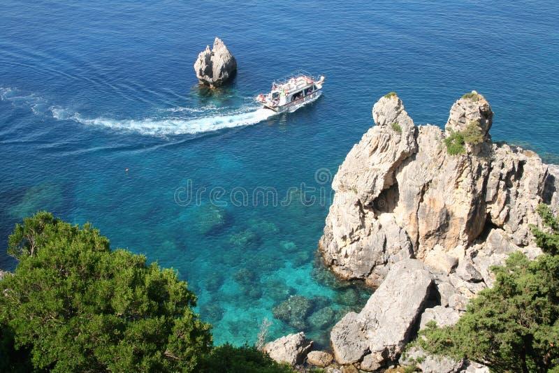 Greece. Corfu. Costa de Paleokastrica fotos de stock royalty free