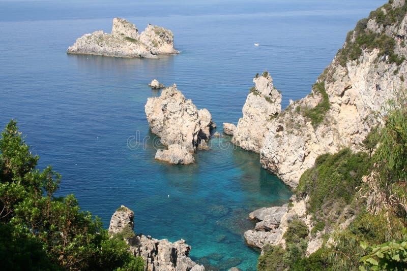 Greece. Corfu, costa de Paleokastrica foto de stock royalty free