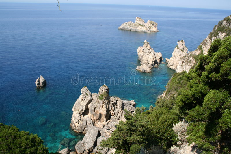 Greece. Corfu, Paleokastrica, coast royalty free stock photos